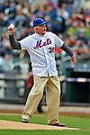 11 April 2012: New York Mets alumni member from their first season Roger Craig throws out the ceremonial first pitch prior to a game against the Washington Nationals at Citi Field in Flushing, New York. The Nationals shut out the Mets 4-0 to take the rubber match of their 3-game series. Mandatory Credit: Ed Wolfstein Photo