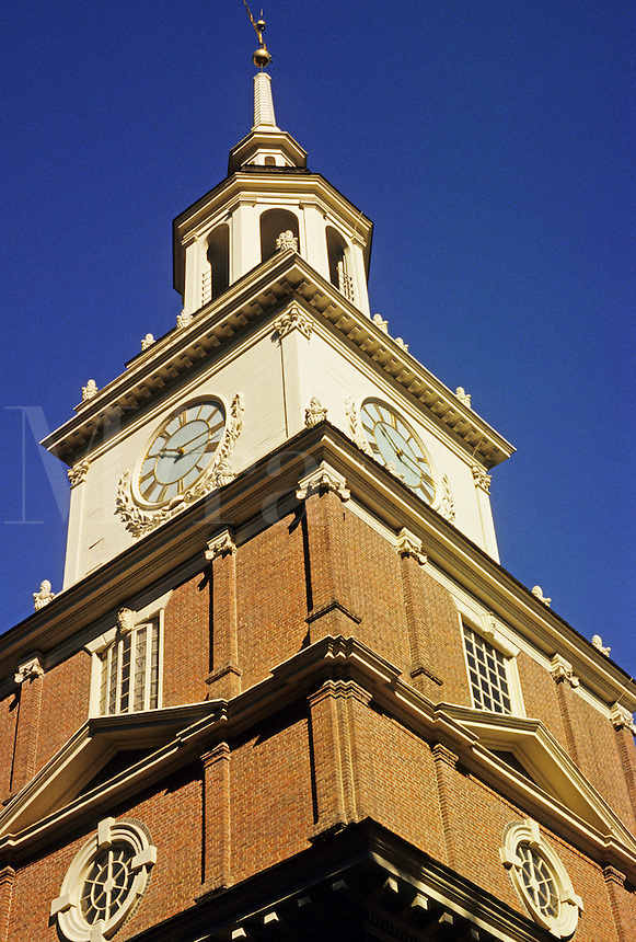 .Philadelphia. Pennsylvania.  Independence Hall. Clock tower. United States of America. Built in 1732 it lies between 5th and 6th on Chestnut Street in Independence Square.  Declaration of Independence and Constitution were signed here..