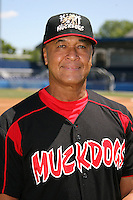 June 16, 2009:  Ramon Ortiz of the Batavia Muckdogs poses for a head shot before the teams practice at Dwyer Stadium in Batavia, NY.  The Batavia Muckdogs are the NY-Penn League Single-A affiliate of the St. Louis Cardinals.  Photo by:  Mike Janes/Four Seam Images