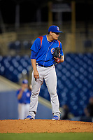 South Bend Cubs starting pitcher Jose Albertos (19) looks in for the sign during the second game of a doubleheader against the Lake County Captains on May 16, 2018 at Classic Park in Eastlake, Ohio.  Lake County defeated South Bend 5-2.  (Mike Janes/Four Seam Images)