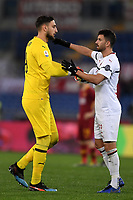 Gianluigi Donnarumma and Mateo Musacchio of AC Milan during the Serie A 2018/2019 football match between AS Roma and AC Milan at stadio Olimpico, Roma, February 3, 2019 <br />  Foto Andrea Staccioli / Insidefoto
