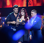 MIAMI, FL - JULY 17: Jencarlos Canela, Dulce Maria and Larry Hernandez onstage during the Premios Juventud 2014 Awards at BankUnited Center on July 17, 2014 in Miami, Florida. (Photo by Johnny Louis/jlnphotography.com)
