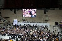 Spagna Barcellona  Elezioni all'assemblea catalana 25 Novembre 2012 Artur Mas presidente de la federación Convergència i Unió alla manifestazione preelettorale