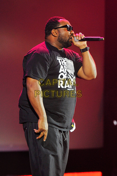 Raekwon.performing at 'Something For Nothing: The Art of Rap'  European premiere, Hammersmith Apollo, London, England. 19th July 2012..show music live on stage concert gig.half length  black t-shirt  sunglasses  microphone  singing side .CAP/MAR.© Martin Harris/Capital Pictures.