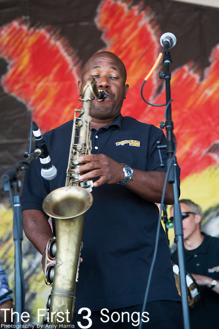 Roderick Paulin of the Forgotten Souls Brass Band performs during the New Orleans Jazz & Heritage Festival in New Orleans, LA.
