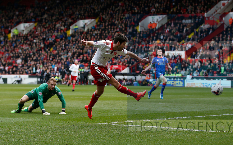 Ryan Flynn of Sheffield Utd scoring the second goal during the Sky Bet League One match at The Bramall Lane Stadium.  Photo credit should read: Simon Bellis/Sportimage