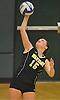 Wantagh No. 15 Jillian Graham serves during the Nassau County varsity girls' volleyball Class A final against Long Beach at SUNY Old Westbury on Wednesday, Nov. 11, 2015. Wantagh won 3-0.<br /> <br /> James Escher
