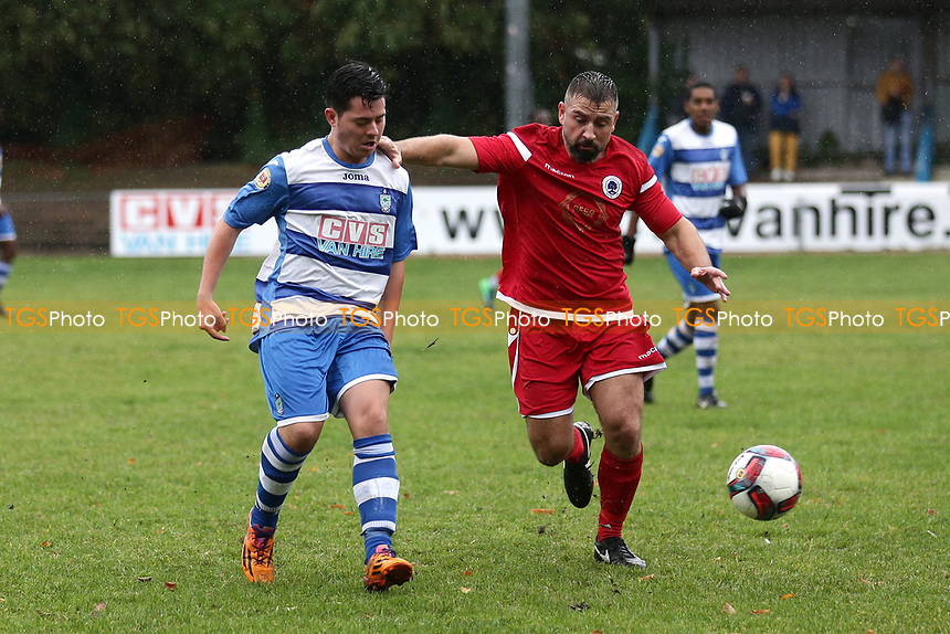 Callum Maltese of Ilford and Ryan Maxwell of Walthamstow during Ilford vs Walthamstow, Essex Senior League Football at Cricklefields Stadium on 6th October 2018