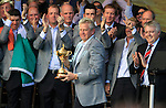 Colin Montgomerie, European Captain, accepts the Ryder Cup during the closing ceremony of the 2010 Ryder Cup at the Twenty Ten Course, Celtic Manor Resort, Newport, Wales, 4th October 2010..(Picture Eoin Clarke/www.golffile.ie)