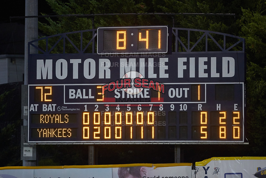 A closeup of the scoreboard at Calfee Park during the Appalachian League playoff game between the Burlington Royals and the Pulaski Yankees on August 31, 2019 in Pulaski, Virginia. The Yankees defeated the Royals 6-0. (Brian Westerholt/Four Seam Images)