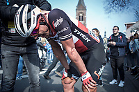 John DEGENKOLB (DEU/Trek-Segafredo) 'post race strong effort' cramps<br /> <br /> 82nd Gent – Wevelgem in Flanders Fields 2019 (1.UWT)<br /> Deinze – Wevelgem: 251,5km<br /> ©kramon
