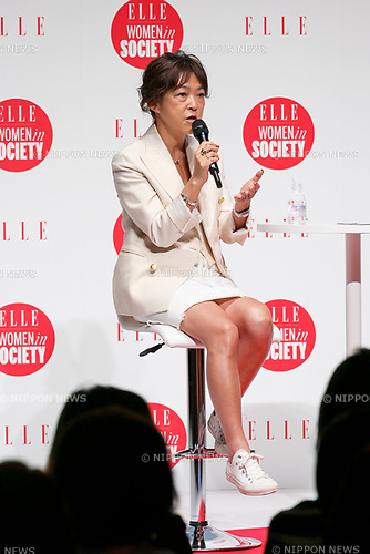 Mariko Nakayama director of MADISONBLUE speaks during the //ELLE Women in Society// event on June 17, 2017, Tokyo, Japan. The annual event organized by ELLE Japon magazine aims to promote the significance of working women/s role in the Japanese society. The event features seminars with women from various career backgrounds including business, politics and music. International celebrities also participated to discuss women/s role in the global field. (Photo by Rodrigo Reyes Marin/AFLO)