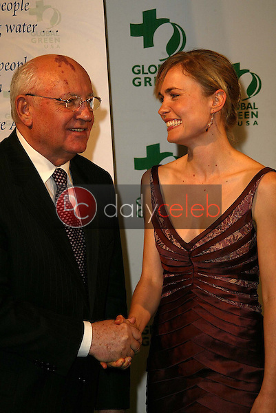 Mikhail Gorbachev and Radha Mitchell