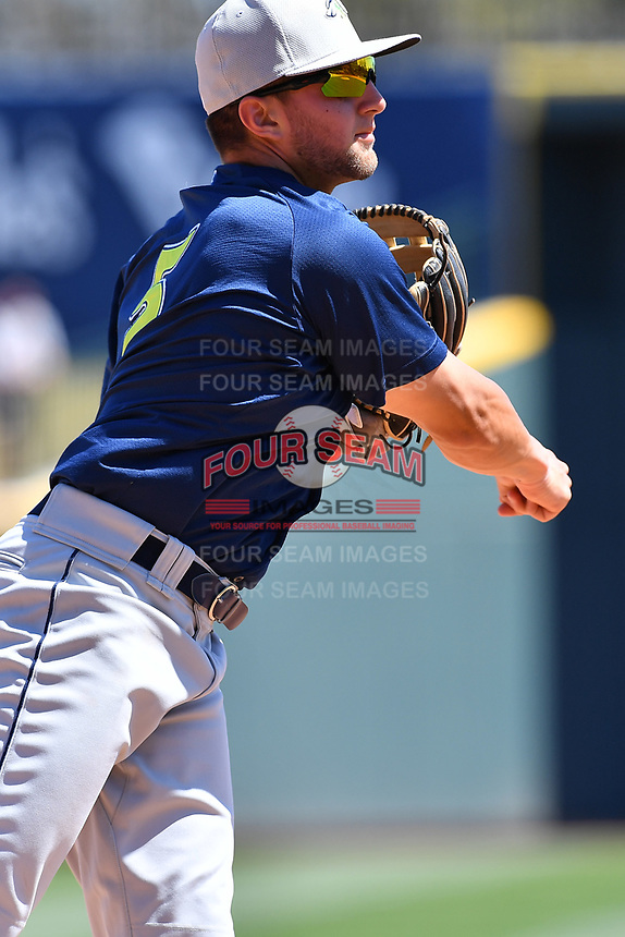 Infielder Blake Tiberi (5) of the Columbia Fireflies during the team's first workout of the season on Sunday, April 2, 2017, at Spirit Communications Park in Columbia, South Carolina. (Tom Priddy/Four Seam Images)