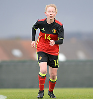 20171125 - TUBIZE , BELGIUM : Belgian Charlotte Tison pictured during the friendly female soccer game between the Belgian Red Flames and Russia , Saturday 25 th November 2017 at the Belgian FA Euro 2000 Center in Tubize , Belgium. PHOTO SPORTPIX.BE | DAVID CATRY