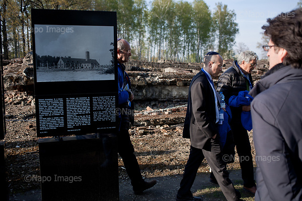 OSWIECIM, POLAND, APRIL 24, 2017:<br /> Elisha Wiesel is walking by the ruins of crematorium during the &quot;March of The Living&quot; an annual march between two camps of the Auschwitz concentration camp.  Elisha Wiesel is a chief technology officer at Goldman Sachs in New York and the only son of Holocaust memoirist Eli Wiesel. After death of his father he has decided to step forward and take a more public role, carrying on his father's work.<br /> (Photo by Piotr Malecki / Napo Images)<br /> ###<br /> OSWIECIM, 24/04/2017:<br /> Elisha Wiesel, syn slawnego Eli Wiesela, bierze udzial w Marszu Zywych w Oswiecimiu. Po smierci ojca Elisha postanowil kontynuoawc jego dzielo.<br /> Fot: Piotr Malecki / Napo Images<br /> <br /> ###ZDJECIE MOZE BYC UZYTE W KONTEKSCIE NIEOBRAZAJACYM OSOB PRZEDSTAWIONYCH NA FOTOGRAFII###