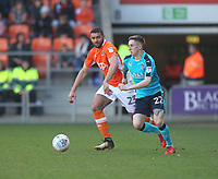 Blackpool's Colin Daniel in action with Fleetwood Town's Ashley Hunter<br /> <br /> Photographer Mick Walker/CameraSport<br /> <br /> The EFL Sky Bet League One - Blackpool v Fleetwood Town - Saturday 14th April 2018 - Bloomfield Road - Blackpool<br /> <br /> World Copyright &copy; 2018 CameraSport. All rights reserved. 43 Linden Ave. Countesthorpe. Leicester. England. LE8 5PG - Tel: +44 (0) 116 277 4147 - admin@camerasport.com - www.camerasport.com