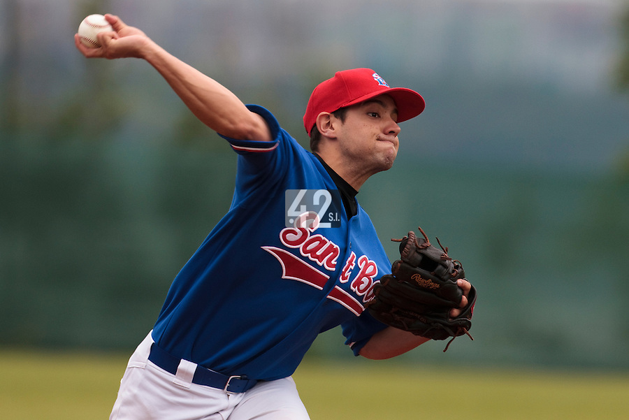03 June 2010: Starting pitcher Ruben Fente of C.B Sant Boi pitches against Rouen during the 2010 Baseball European Cup match won  8-4 by C.B. Sant Boi over the Rouen Huskies, at the Kravi Hora ballpark, in Brno, Czech Republic.