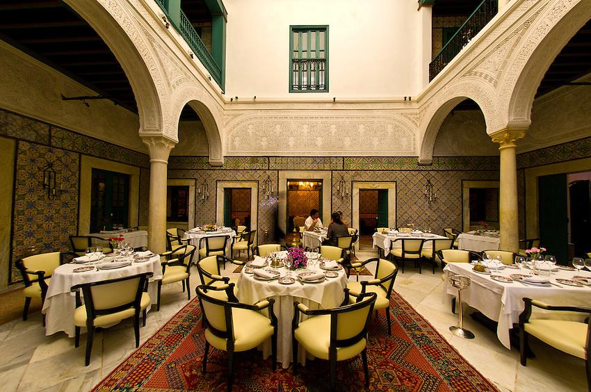 Dining room at Dar El Jeld restaurant, Kasbah, Tunis, Tunisia