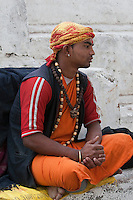 Pashupatinath, Nepal.  Young Sadhu (Holy Man) at Nepal's Holiest Hindu Temple.  He wears a tikka on his forehead, a red dot symbolizing a blessing from the Hindu gods.