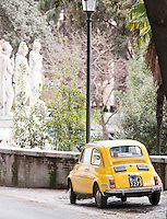 A Fiat 500 parked above Piazza Del Popolo, Rome, Italy