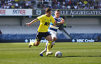 Blackburn Rovers' Lewis Travis and Queens Park Rangers' Josh Scowen<br /> <br /> Photographer Rob Newell/CameraSport<br /> <br /> The EFL Sky Bet Championship - Queens Park Rangers v Blackburn Rovers - Friday 19th April 2019 - Loftus Road - London<br /> <br /> World Copyright © 2019 CameraSport. All rights reserved. 43 Linden Ave. Countesthorpe. Leicester. England. LE8 5PG - Tel: +44 (0) 116 277 4147 - admin@camerasport.com - www.camerasport.com