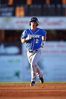 Hudson Valley Renegades left fielder Landon Cray (2) running the bases after hitting a home run during a game against the Batavia Muckdogs on August 2, 2016 at Dwyer Stadium in Batavia, New York.  Batavia defeated Hudson Valley 2-1.  (Mike Janes/Four Seam Images)
