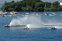 "(L to R): Marc Theoret, GP-444 ""GP Valleyfield"", Ken Brodie II, GP-50 ""Intensity""  and Brandon Kennedy, GP-25 ""Miss KOMA Unwind"" (Grand Prix Hydroplane(s)"