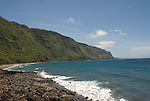 Hawaii: Molokai, beach at Kalaupapa..Photo himolo199-71910..Photo copyright Lee Foster, www.fostertravel.com, lee@fostertravel.com, 510-549-2202