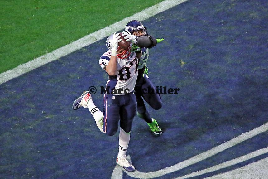 TD von TE Rob Gronkowski (Patriots) zum 14:7 - Super Bowl XLIX, Seattle Seahawks vs. New England Patriots, University of Phoenix Stadium, Phoenix