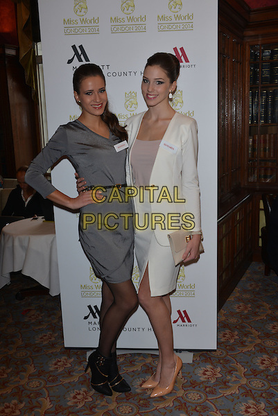 Miss Slovenia  Julija BIZJAK, Miss Slovakia   Laura LONGAUEROV&Aacute;<br /> photocall for Miss World 2014 contestants in central London, on November 25, 2014. This year's Miss World contest will take place in London on December 14, 2014<br /> CAP/PL<br /> &copy;Phil Loftus/Capital Pictures