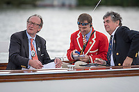 Henley Royal Regatta, Henley on Thames, Oxfordshire, 29 June-3 July 2015.  Thursday  10:59:09   30/06/2016  [Mandatory Credit/Intersport Images]<br /> <br /> Rowing, Henley Reach, Henley Royal Regatta.<br /> <br /> Official Timekeepers and the Race Reporter on the Stern of the Umpire's Launch