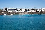 Buildings around harbour at Playa Blanca, Lanzarote, Canary Islands, Spain