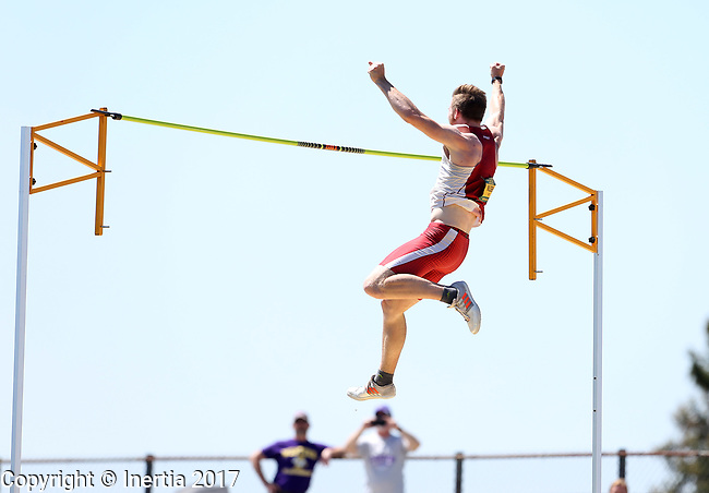 FARGO, ND - MAY 13: Chris Nielsen from the University of South Dakota celebrates after clearing the bar during the men's pole vault competition Saturday at the 2017 Summit League Outdoor Track Championship at the Ellig Sports Complex in Fargo, ND. (Photo by Dave Eggen/Inertia)