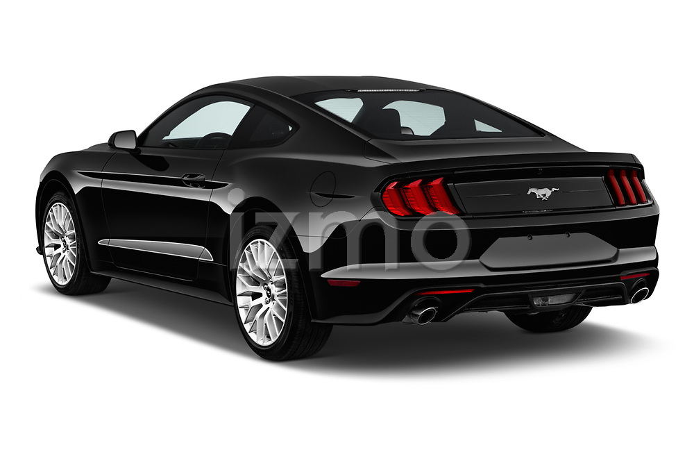 Car pictures of rear three quarter view of a 2018 Ford Mustang EcoBoost 2 Door Coupe angular rear