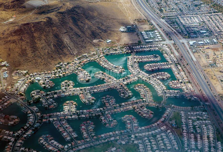 Aerial view Arrowhead Lakes homes houses community water waterfront lake Glendale Arizona photography window seat