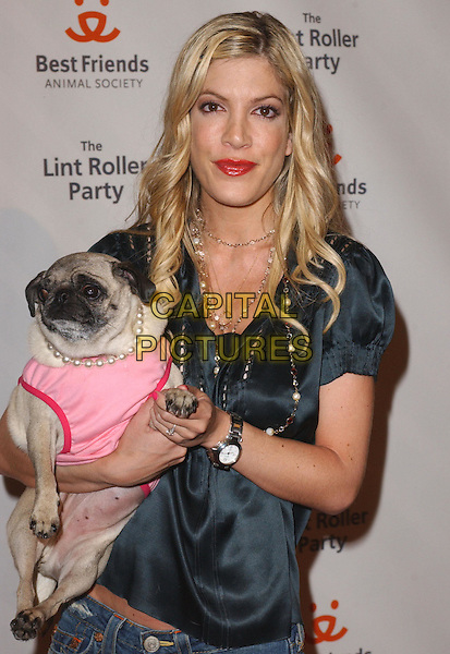 TORI SPELLING.Attends the 2004 Best Friends Lint Roller Party held at The Hollywood Athletic Club in Hollywood,California.April 28,2004.animal, dog, pet, half length, half-length.www.capitalpictures.com.sales@capitalpictures.com.Supplied By Capital PIctures