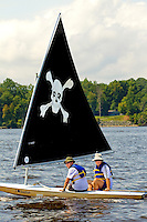 Members of a Venturing Crew take sailboats for a spin during camp. Photo is part of a series of images taken at Pamlico Sea Base, a Boy Scouts of America High Adventure Camp located on the Pamlico River south of Washington, NC. The BSA Sea Base program is centered around sea kayaking treks on the North Carolina Outer Banks and sailing programs on the historic Pamlico River...Photography by: Patrick Schneider Photo.com