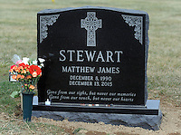 The tombstone of Matthew Stewart is seen Thursday, February 2, 2017 at All Saints Cemetery in Newtown, Pennsylvania. His mother, Rosemary Stewart had purchased a family plot, and the cemetery people placed her son's gravesite too close to the street, leaving the family unable to place the tombstone they had chosen. After much back and forth the cemetery agreed to move the casket over to the next plot further away from the street, thus enabling the tombstone to be placed at the grave. (WILLIAM THOMAS CAIN / For The Philadelphia Inquirer)