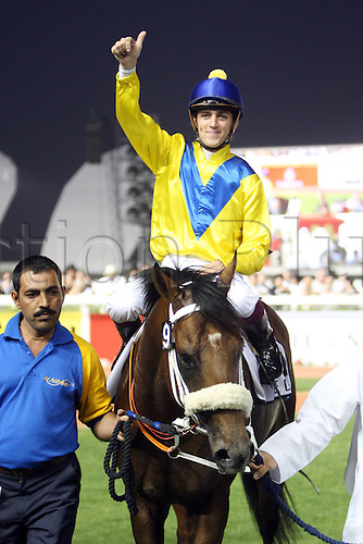 27 03 2010  Worry 27 03 2010 The Dubai World Cup at the United Arab Emirates Meydan Racecourse.  Musir with Christophe Soumillon Up After They Won The UAE Derby MEYDAN Racecourse Horse Jockey Musir Soumillon Victory  Equestrian sports riding Horse race Gallop Dubai UAE Derby