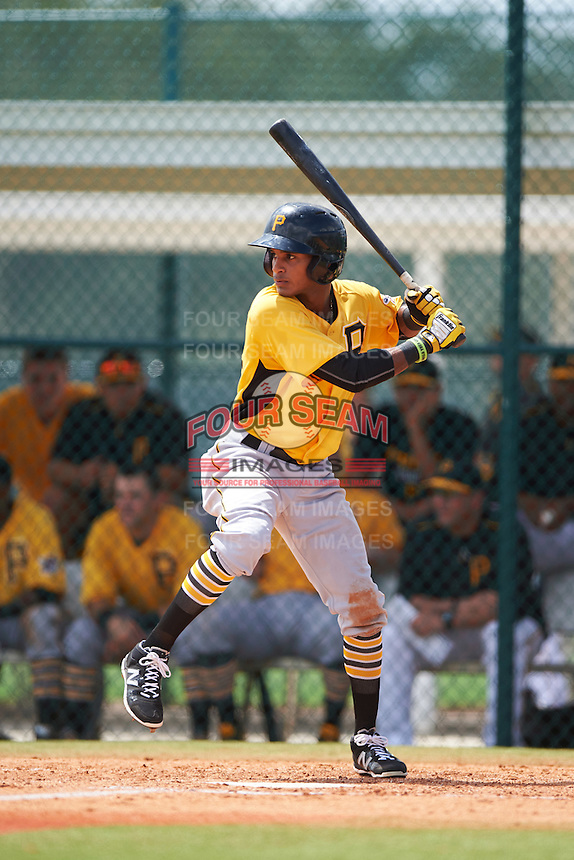 Pittsburgh Pirates Michael De La Cruz (64) during an instructional league intrasquad black and gold game on September 18, 2015 at Pirate City in Bradenton, Florida.  (Mike Janes/Four Seam Images)