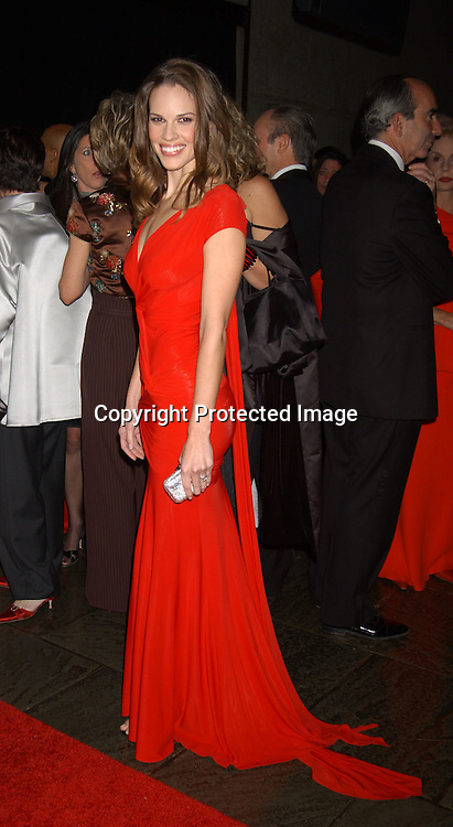 Hilary Swank in Donna Karan dress                                     ..at the 2003 Whitney Museum of American Art Gala honoring Ellsworth Kelly's 80th birthday  on October 20, 2003 . Photo By Robin Platzer, Twin Images