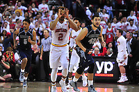 Melo Trimble of the Terrapins reacts after draining a 3-point shot late in the game. Maryland defeated Georgetown 75-71 during a game at Xfinity Center in College Park, MD on Wednesday, November 17, 2015.  Alan P. Santos/DC Sports Box