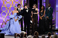 The Golden Globe for BEST ORIGINAL SONG &ndash; MOTION PICTURE goes to &quot;Shallow&quot; for &ldquo;A Star Is Born&rdquo; - music and lyrics by: Lady Gaga, Mark Ronson, Anthony Rossomando, and Andrew Wyatt - at the 76th Annual Golden Globe Awards at the Beverly Hilton in Beverly Hills, CA on Sunday, January 6, 2019.<br /> *Editorial Use Only*<br /> CAP/PLF/HFPA<br /> Image supplied by Capital Pictures