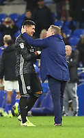 26th November 2019; Cardiff City Stadium, Cardiff, Glamorgan, Wales; English Championship Football, Cardiff City versus Stoke City; Neil Harris, Manager of Cardiff City celebrates with Neil Etheridge of Cardiff City after the 1-0 win - Strictly Editorial Use Only. No use with unauthorized audio, video, data, fixture lists, club/league logos or 'live' services. Online in-match use limited to 120 images, no video emulation. No use in betting, games or single club/league/player publications