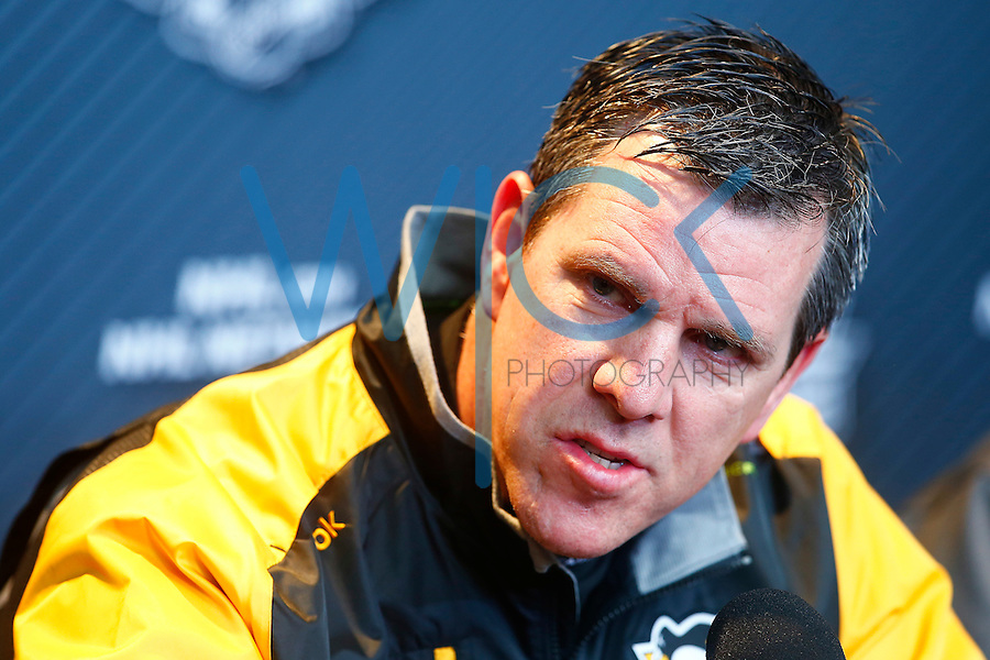 Head coach Mike Sullivan of the Pittsburgh Penguins speaks during media day prior to the start of the Stanley Cup Final series between the Pittsburgh Penguins and the San Jose Sharks at Consol Energy Center in Pittsburgh, Pennslyvania on May 29, 2016. (Photo by Jared Wickerham / DKPS)