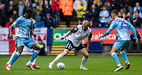 Bolton Wanderers' James Weir (centre) competing with Coventry City's Amadou Bakayoko (left) and Zain Westbrooke (right) <br /> <br /> Photographer Andrew Kearns/CameraSport<br /> <br /> The EFL Sky Bet Championship - Bolton Wanderers v Coventry City - Saturday 10th August 2019 - University of Bolton Stadium - Bolton<br /> <br /> World Copyright © 2019 CameraSport. All rights reserved. 43 Linden Ave. Countesthorpe. Leicester. England. LE8 5PG - Tel: +44 (0) 116 277 4147 - admin@camerasport.com - www.camerasport.com