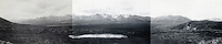 July 18, 1916, Panorama from location near Polycrome Pass, Denali National Park and Preserve, Alaska, United States.  Image made by U.S. Geological Survey geologist Stephen Reid Capps.  This panoramic image is composed of three individual photographs that were digitally stitched together by Ron Karpilo.  The original images are U.S. Geological Survey Photographic Library, S.R. Capps Collection images # 793, 794, and 795.