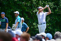 Ian Poulter (GBR) watches his tee shot on 14 during Sunday's final round of the PGA Championship at the Quail Hollow Club in Charlotte, North Carolina. 8/13/2017.<br /> Picture: Golffile | Ken Murray<br /> <br /> <br /> All photo usage must carry mandatory copyright credit (&copy; Golffile | Ken Murray)