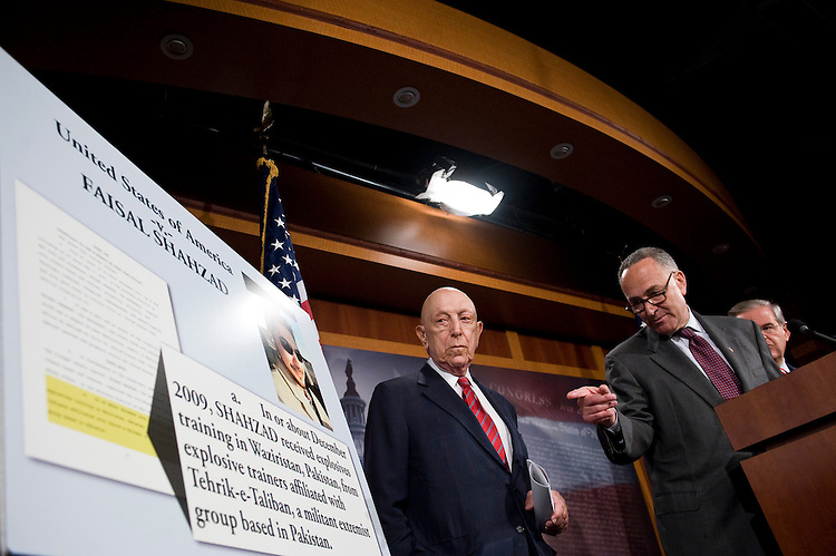 From left, Sen. Frank Lautenberg, D-N.J., Sen. Charles Schumer, D-N.Y., and Sen. Robert Menendez, D-N.J., hold a news conference on the Times Square bomber on Tuesday, June 22, 2010.